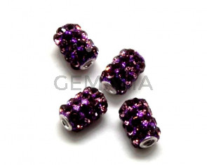 Resina/Rhinestone. Barril. 10x13mm. Purple. Int.3mm aprox.