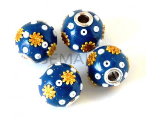 Resina. Bola. 13mm. Azul claro. Int.3mm