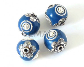 Resina/Metal. Bola. 17mm. Azul-plateado. Int.2mm aprox.