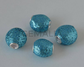 Resina. 13x8mm. Azul brillantina. Int.3mm aprox.