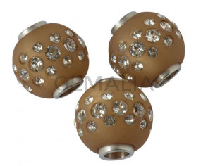 Resina/SWAROVSKI. Bola. 16mm.Marron opaco-cristal. Int.1,8mm. Calidad Superior