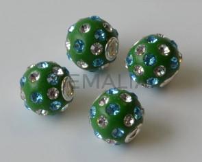 Resina/Metal/Rhinestone. Bola. 13mm. Verde-azul-cristal.Int.3mm Aprox.