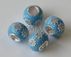 Resina/Metal. Rondel. 15x10mm. Azul Brillantina. Int.5mm Aprox.