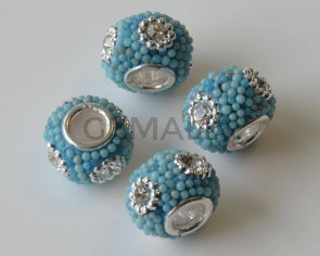Resina/Metal. Rondel. 15x10mm. Azul. Int.5mm Aprox.