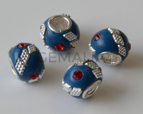 Resina/Metal. Rondel. 15x10mm. Azul-rojo. Int.5mm Aprox.