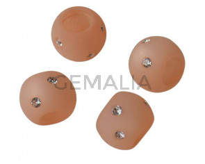Resina/SWAROVSKI. Rondel.12x9mm.Salmon opaco-cristal.Int.6mm. Calidad Superior