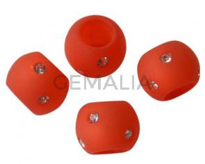 Resina/SWAROVSKI.Rondel.12x9mm.Rojo claro-cristal.Int.6mm. Calidad Superior