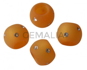 Resina/SWAROVSKI. Rondel. 12x9mm. Amarillo-cristal.Int.6mm. Calidad Superior