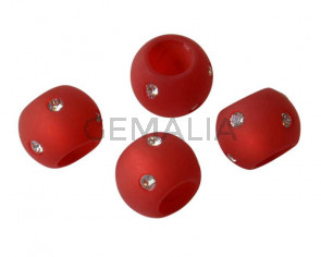 Resina/SWAROVSKI. Rondel. 12x9mm.Rojo opaco-cristal.Int.6mm. Calidad Superior