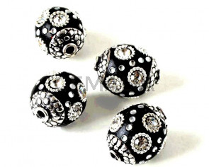 Resina/metal. Bola. 16x14mm. Negro-plateado. Int.1,8mm aprox.