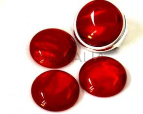 Resina POLARIS. Cabujon. 20mm. Rojo oscuro perla. Calidad superior