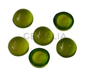 Resina. Cabujon. Moneda.7,2mm.Verde manzana translucido. Calidad Superior