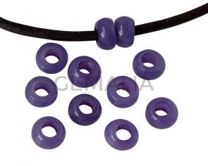 Resina. Rondel 6,5x6,5x4mm. Lila opaco. Int.3mm aprox. Calidad superior.