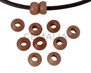 Resina. Rondel 6,5x6,5x4mm. Marron opaco. Int.3mm aprox. Calidad superior.