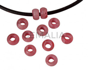 Resina. Rondel 6,5x6,5x4mm. Rosa jaspeado. Int.3mm aprox. Calidad superior.