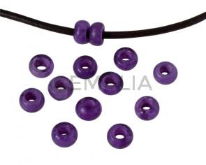 Resina. Rondel 6,5x6,5x4mm.  Violeta jaspeado. Int.3mm aprox. Calidad superior.