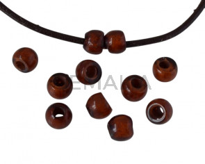 Resina. Bola 7x7x5mm.Marron oscuro jaspeado. Int.3mm aprox. Calidad superior.
