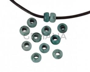 Rondel de Resina 6,5x6,5x4mm. Verde . Int.3mm. Calidad superior.