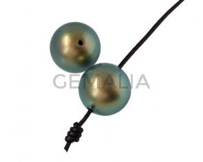 Perla SWAROVSKI 5817. 14mm. Verde Iridiscente. Int.1,2mm