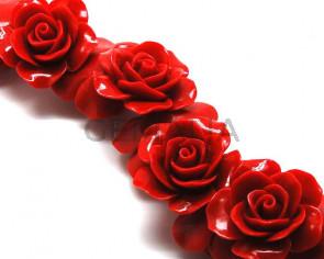 Turquesa sintetica.Flor.35mm.Rojo.