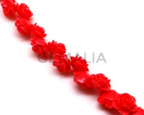 Coral sintetico. Flor.15mm.Coral.