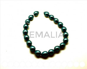 Perla nacar. Gota 20x16mm. verde mar. Int.1mm aprox.