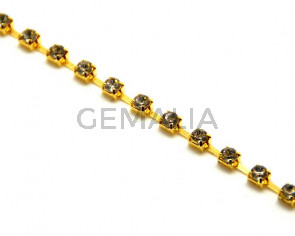 Cadena. 3,5mm. Dorado-strass cristal.