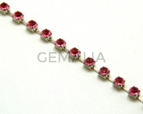 Cadena. 3,5mm. Plateado-strass rosa.