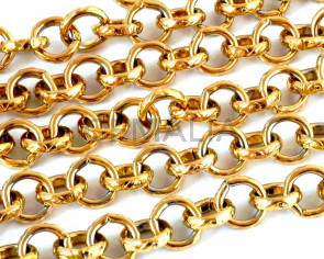 Acero inoxidable 304. Cadena. 7,5x7,5x2mm. Dorado.