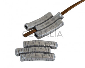 Tubo de Zamak plano triple. 34x18mm. Plateado. Int.3x1,7mm
