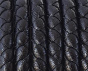 Cordón de cuero trenzado redondo negro serpiente de 5mm - Calidad Superior