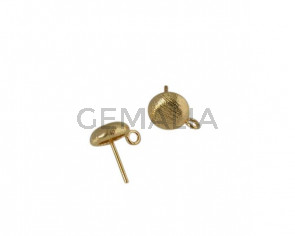 Accesorio de pendiente moneda de latón 9mm. Dorado. Int.2mm. Calidad Superior