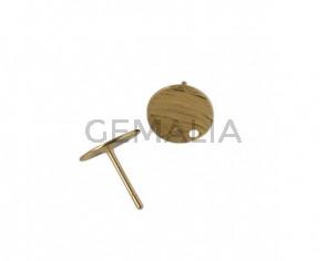 Accesorio de pendiente moneda de latón 10mm. Dorado. Int.1,2mm. Calidad Superior