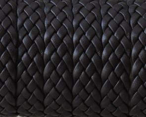 Cordon de Cuero trenzado 12x2mm. Marron oscuro. Calidad superior.