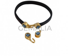 Cierre garfio de SWAROVSKI y Zamak. Set 2 piezas 6x15mm - 6x11mm. Dorado-Denim Blue. Int.5x2mm