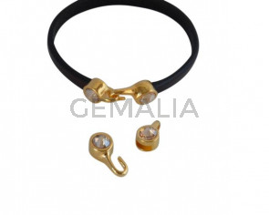Cierre garfio de SWAROVSKI y Zamak. Set 2 piezas 6x15mm - 6x11mm. Dorado-Golden Shadow. Int.5x2mm