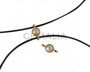 Conector de SWAROVSKI y Zamak 10x5mm. Dorado-Cream Pearl.Int.1,2mm