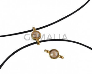 Conector de SWAROVSKI y Zamak 10x5mm. Dorado-Golden Shadow Pearl.Int.1,2mm