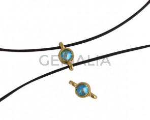 Conector de SWAROVSKI y Zamak 10x5mm. Dorado-Peridot Shimmer.Int.1,2mm