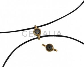 Conector de SWAROVSKI y Zamak 10x5mm. Dorado-Black Diamond.Int.1,2mm
