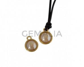 Colgante de SWAROVSKI y Zamak moneda 9x5x9,5mm. Dorado-Golden Shadow Pearl. Int.1,5mm