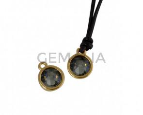 Colgante de SWAROVSKI y Zamak moneda 9x5x9,5mm. Dorado-Black Diamond. Int.1,5mm