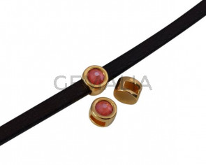 Entrepieza de SWAROVSKI y Zamak. Moneda 8mm. Dorado-Light Coral. Int.5x2mm