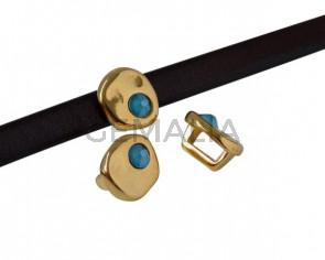Entrepieza de SWAROVSKI y Zamak moneda 8,3x8x8mm. Dorado-Azure Blue. Int.5x2,5mm