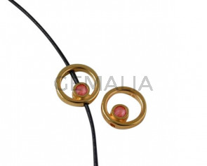 Aro de SWAROVSKI y Zamak 12,2x12,3mm. Dorado-Light Coral. Int.1,5mm