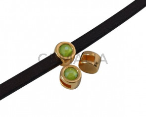Entrepieza de SWAROVSKI y Zamak. Moneda 8mm. Dorado-Lime. Int.5x2mm