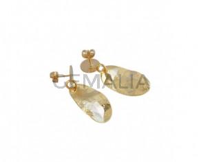 Pendientes oval de latón 25x16mm. Dorado. Calidad Superior
