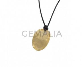 Colgante oval de latón 25x16mm. Dorado. Int.1,5mm. Calidad Superior