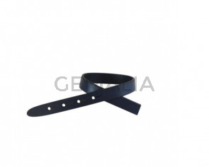 Tira de cuero para hebilla. 230x10mm. Azul marino-cantos negros. Calidad superior.