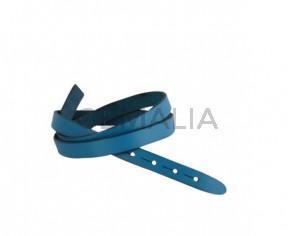 Tira de cuero para hebilla. 590x10mm. Azul turquesa-cantos negros. Calidad superior.